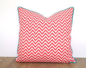Coral pillow cover 18x18 girl bedroom decor, chevron cushion piping, coral and turquoise pillow case, geometric cushion cover