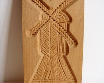Wooden Cookie Press Hand Carved Wipmolen  Speculaas Koekplank by Antre