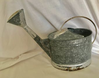 "GALVANIZED Watering Can metal 10.5""h holds 10cups"