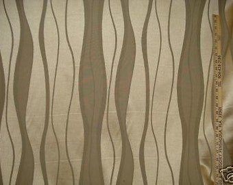 Straw GOLD WAVE Stripe Taupe Tone on Tone UPHOLSTERY Fabric ,19-65-08-087