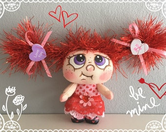 "OOAK Artist Miniature Cloth Pocket VALENTINE Rag Doll ""ADORA""  only 3 1/2"" high!"