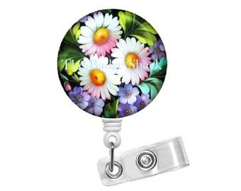"Colorful Daisy 1.5"" ID Badge Holder - Floral  Badge Reel - Nursing Badge - Teacher Badge Reel - Medical Badge - School Badge - Gift for Her"