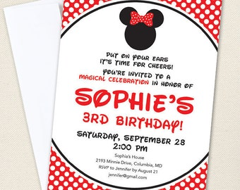 Minnie Mouse Birthday Invitations (Red) - Professionally printed *or* DIY printable