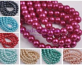 Wholesale 72pcs 8mm Round Czech Glass Pearl Spacer Loose Beads Bulk Lot Crafts DIY Jewelry Findings SKU ZZ007-0~27