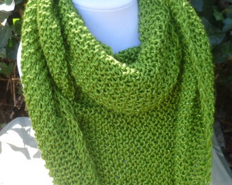 Hand Knit fall scarf -Triangle scarf - Hand Knit lime green Scarf- Hand Knit scarf - Women's scarf - scarve