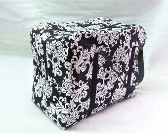 Carrying Bag for the Sizzix Big Shot Plus Machine / Black and White Damask Print Fabric