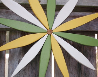 Summer Colors! Wooden Starburst Wreath Wall, Fence and Door Decor - Outdoor Art - Garden Wreath handcrafted by Laughing Creek