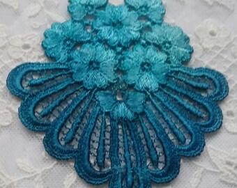 Daisy Flower Fan Hand Dyed Venise Applique Crazy Quilt Mixed Media Embellishment