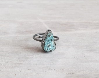 Oxidized Silver Ring with Raw Turquoise Stone