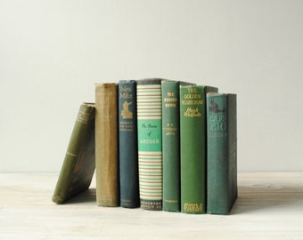 Vintage Book Set, Green Filler Books Hard Bound with Cloth Covers