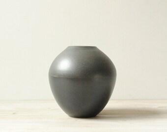 Vintage Pottery Vase, Handmade Vase, Black Vase, Modern Vase
