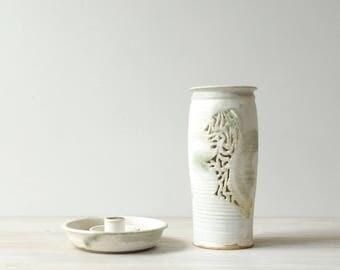 Vintage Handmade Ceramic Lantern, Candle Lantern