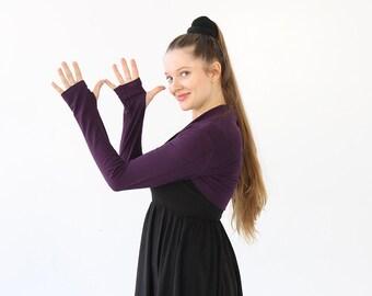 Purple Shrug|Purple Bolero|Purple Shrugs Bolero|Long Sleeve Shrug|Bolero Jacket|Bridal Shrug|gift for sister|holiday gift|best yoga gift