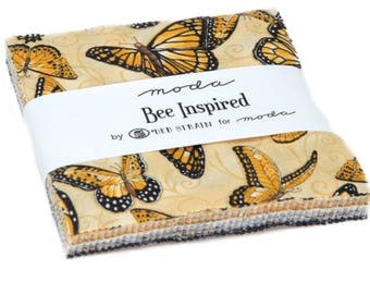 "Bee Inspired Charm Pack by Deb Strain for Moda Fabrics 19790PP 42 5"" Fabric Squares"