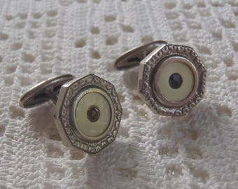 Vintage Cuff Links Engraved Silver Tone with Rhinestones