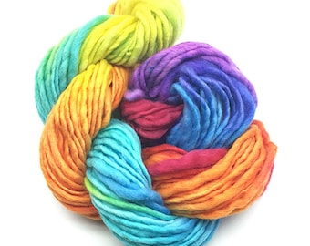 Bulky  handpainted rainbow yarn, handspun in merino wool - 50 yards and 1.65 ounces/46 grams