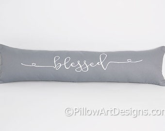 Blessed Pillow with Word Grey and White 6 X 18 Hand Painted Made in Canada