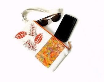 Wristlet clutch, detachable strap slim bag, leaf design, linen purse, wristlet handbag, small clutchbag zipper pouch