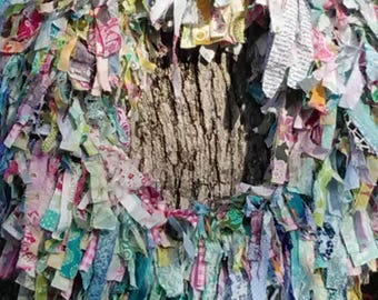Full Fluffy Raggy Tattered Colorful Cotton Fabric Rag Wreath Ready to Ship