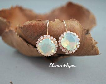 Swarovski Chrysolite Opal Crystal Earrings, Light Mint Green Earrings, Pacific White Opal Mint Swarovski 12mm Cushion Cut, Rose Gold