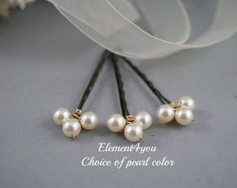 Pearl bobby pins, Hair pins, Bridal hair piece, Flower girl, Bridesmaid gift, Wedding hair accessories, hand wired pins, Pearl hair clips