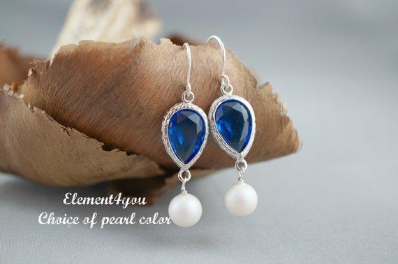 Cubic Zirconia Crystal earrings Royal blue white pearls Teardrop Silver Bridesmaid gift Bridal party wedding jewelry Teardrop link Dangle