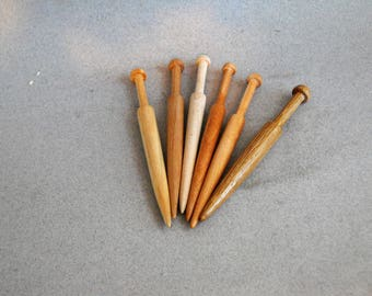 Wood pillow lace bobbins