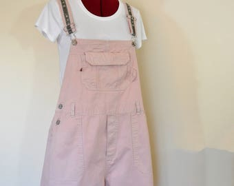 Pink Large Bib OVERALL Shorts - Coral Pink Dyed Upcycled Vintage 90s Bum Equipment Cotton Shortalls - Adult Womens Size Large (38 Waist)