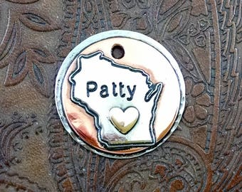 Wisconsin Dog ID Tag,Dog Tag,Wisconsin,State-Custom Pet ID Tag-Handmade Dog Collar Tag-Dog Tag for Dogs
