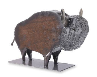 Wild Buffalo Metal Tabletop Sculpture Native Art