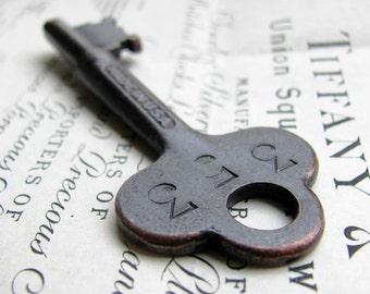 Large antique skeleton key, refinished, 3 inches long, dark, distressed, black patina, authentic vintage key, original rustic old hotel key