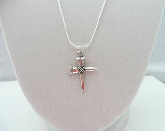 nnm-Silver Nail Cross Necklace
