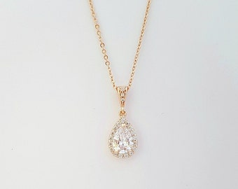 Rose Gold Necklace Bridal Clear Cubic Zirconia Small Teardrop Pendant Wedding Necklace Bridal Jewelry, Ellie
