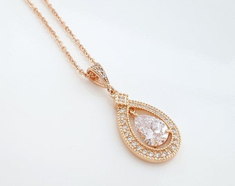 Crystal Rose Gold Bridal Necklace Wedding Jewelry Clear Cubic Zirconia Teardrop Pendant Necklace Pink Gold CZ Bridal Necklace, Sarah