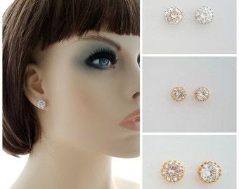 Rose Gold Stud Earrings, Crystal Wedding Bridal Jewelry, Gold Bridal Earrings, Small Cubic Zirconia, Stud Bridesmaid Earrings, Liz