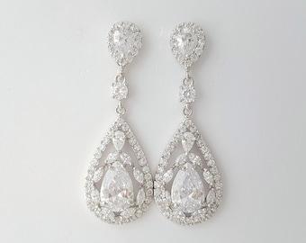 Crystal Bridal Earrings Wedding Jewelry Cubic Zirconia Bridal Jewelry Crystal Wedding Earrings Teardrop Earrings For Bride, Erela Earring