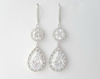 Wedding Drop Earrings Silver Bridal Crystal Earrings Clear Cubic Zirconia Bridal Jewelry Crystal Wedding Jewelry, Abia