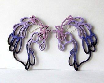 Painted Horse Head Earrings Purple Violet Mauve Laser Cut Wood Extra Large Horse Earrings Huge Big Equestrian Jewelry for Cowgirl