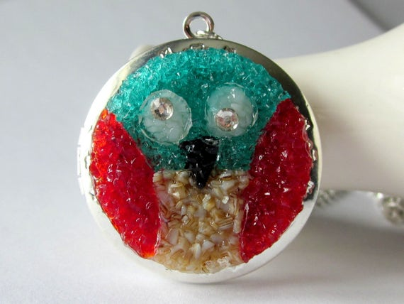 Stained Glass Owl Locket Necklace