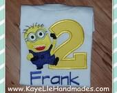 Embroidered Shirt - Birthday Shirt - Custom - Minion