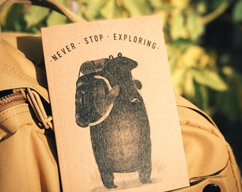 Backpack Bear - A6 Notebook / Sketchbook / Journal