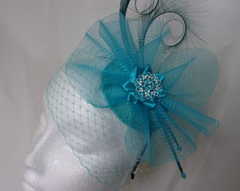 Shades of Turquoise Veiled Fascinator - Curl Feather Veil & Crinoline Wedding Fascinator Percher Mini Hat Ascot Derby - Made to Order