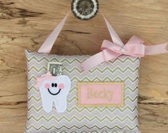 SHIPS NEXT DAY,Pink chevron,Personalized tooth fairy pillow, Girl tooth fairy pillow,Tooth fairy pillow girl,--