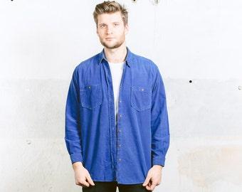 Mens Corduroy Blue Shirt . Vintage 90s Cord Skater Shirt Retro 1990s Grunge Man Boyfriend Gift . size  Large
