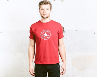 Vintage Men's 90's CONVERSE T-Shirt . Red Logo Print Tee Shirt Boyfriend Gift 1990s Fitted T-Shirt . size Small