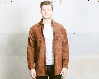 Vintage Men's Suede Jacket . Mens Brown Leather Western Coat Long Jacket 1980s Leather Outerwear 80s Oversized Jacket . size Medium M