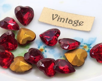 Ruby Heart Rhinestones Vintage Glass Rhinestone Heart Foil 9x8mm Antique (52C)