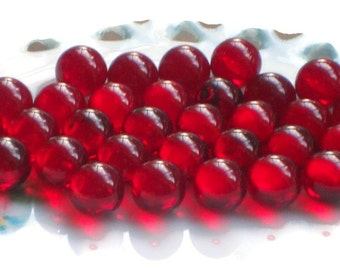 Glass Eyes,Red Glass Eyes,Undrilled beads,Vintage Glass Beads, Ruby Red Siam NOS 8mm Round No Hole Marbles Solid #1499