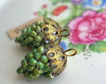 Earring Parts Vintage Grape Cluster Pendant Pearl Filigree Drops Dangles Charms Green Whimsical Findings Components Pearls Filigree #826Y