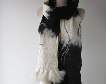 Felted scarf Felt Eco Fur scarf, Black white long scarf, Hand Felted scarf, Pure Real Wool scarf Fleece by galafilc Organic ruelty Free fur